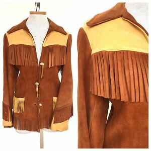 Vintage-VTG-1970s-70s-Suede-and-Leather-Fringed-Western-Two-Tone-Jacket
