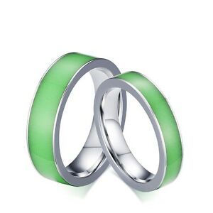 Glow in the dark couple rings men women39s titanium steel for Glow in the dark wedding rings