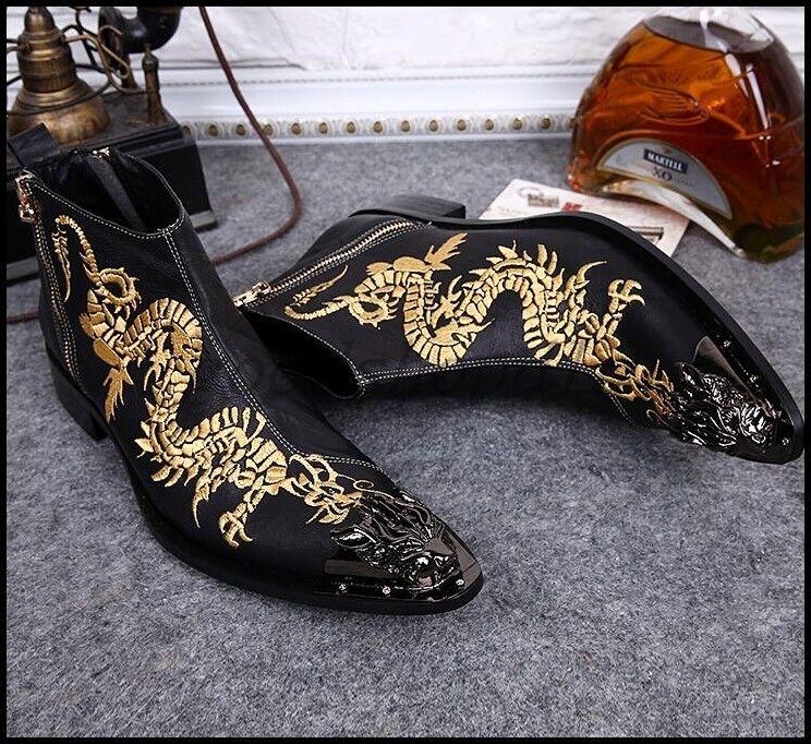 Retro para hombre de cuero Dragon Bordar Metal Puntera Puntiaguda tobillo botas mostrar Zapatos Talla