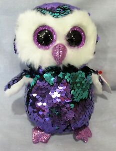 "MOONLIGHT - PURPLE OWL - Ty FLIPPABLES Sequin Beanie 6"" Boos  NEW with MINT TAGS"