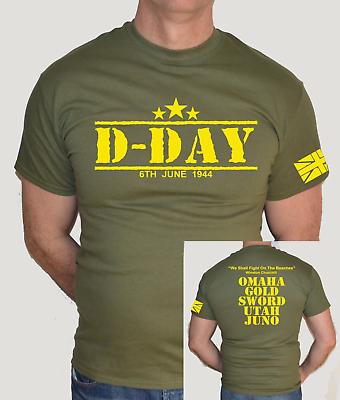 T-SHIRT MILITARY,WW2,WAR,FUN T SHIRT D-DAY,YELLOW LOGO,ARMY,1944,NORMANDY