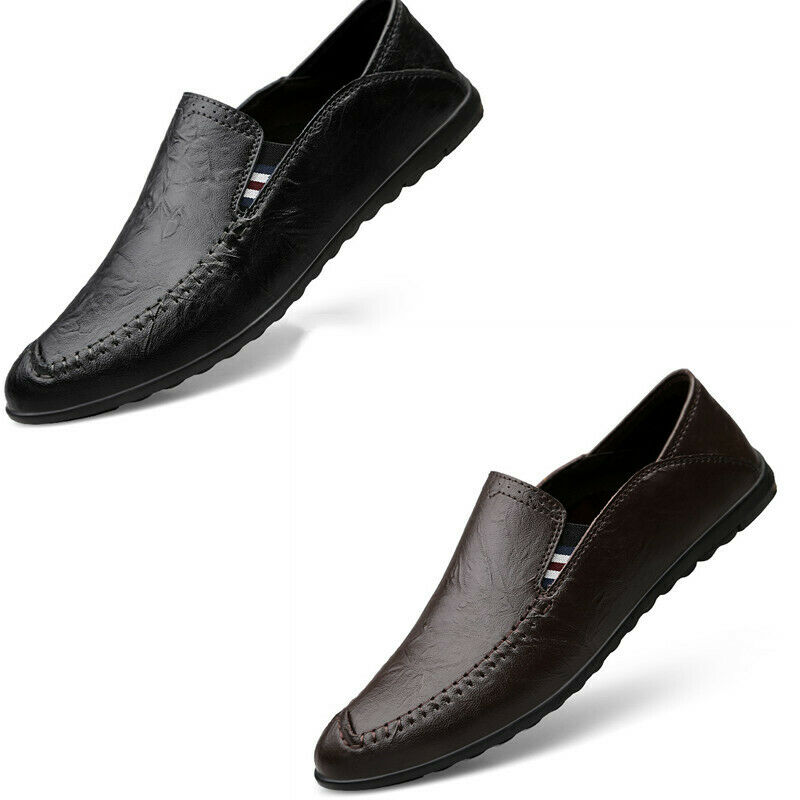 Mens Solid Pumps Slip On Round Toe Breathable Casual Flat Driving shoes Fashion