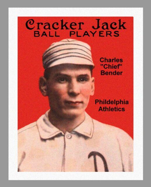 "CHARLES ""CHIEF"" BENDER CRACKER JACK  BALL PLAYERS PRINT - ON 8.5"" x 11"" CANVAS"