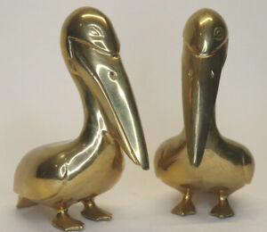 Pair-of-VTG-Solid-Brass-7-5-Tall-Pelican-Bird-Nautical-Decor-Figurine-Sculpture