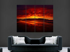 RED SUNSET POSTER BEACH OCEAN SEA SAND PARADISE IMAGE ART WALL LARGE GIANT
