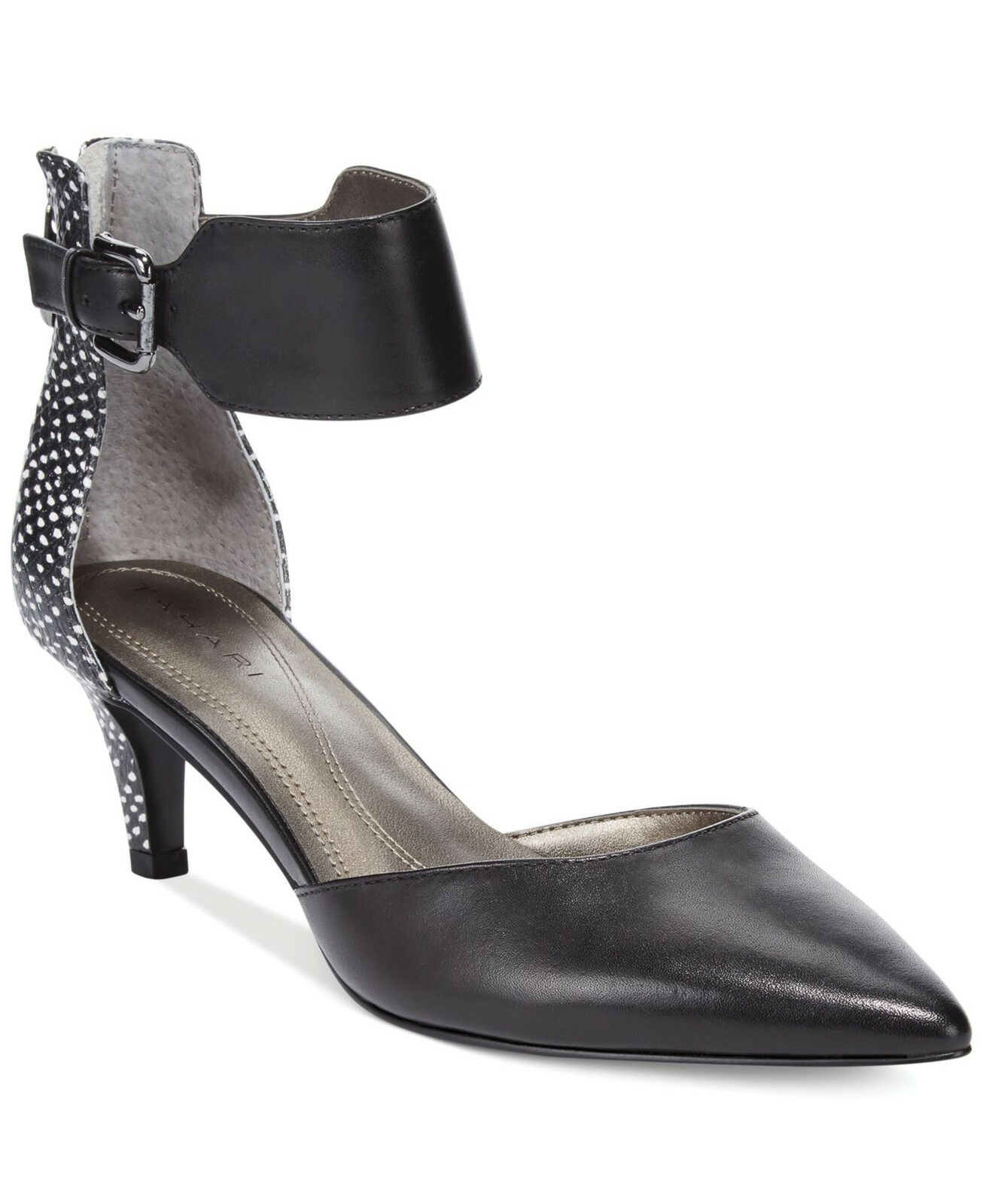 SIZE 7.5M TAHARI ANDE BLACK IVORY LEATHER ANKLE STRAP  WOMEN Schuhe
