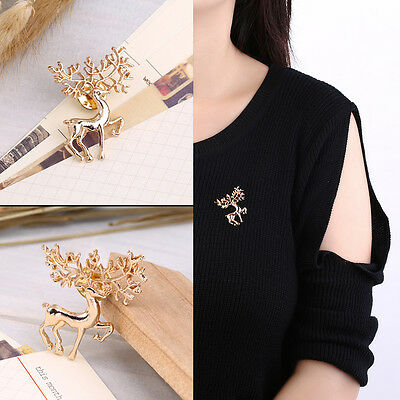 Cute New Year Christmas Deer Xmas Gift Alloy Brooch Pin Party Decoration CC