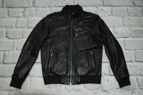 ZARA jacket BIKER leather black L large Men