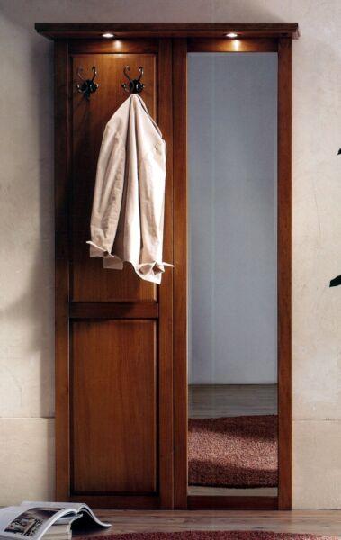 1 Ingresso Parete In Legno Noce Classico-specchio Appendiabiti Luci T21 Sconto Online