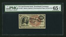 1869-75 15 CENTS FRACTIONAL CURRENCY FR-1267 CERTIFIED BY PMG CHOICE UNC. 65-EPQ