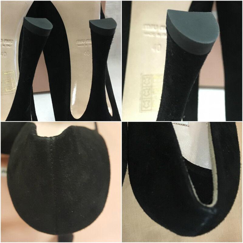 Auténtico Miu Miu Camoscio Negro Gamuza de salón con con con Plataforma Talla 40  675 e9de8b