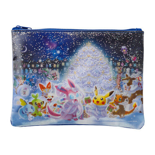 Pokemon Center 2019 Frosty Christmas Flat pouch case with SEQUINS Pikachu