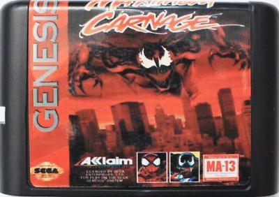 Spider Man Venom Maximum Carnage Sega Genesis Game Cartridge