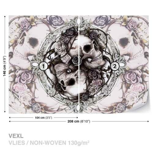 977WS WALL MURAL PHOTO WALLPAPER XXL Skull Alchemy Roses