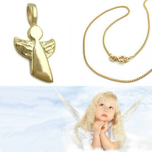 Baby Kinder Moderner Schutz Engel Echt Gold 585 Mit Kette Silber 925 Vergoldet