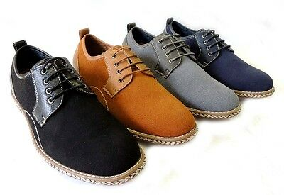 NEW MENS CASUAL LACE UP FAUX SUEDE LEATHER LINED ROPE BOAT OXFORDS DRESS SHOES