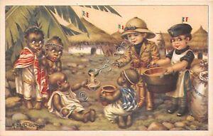 Cartolina-Illustrata-Bertiglia-Etiopia-Balilla-e-piccoli-indigeni-rancio