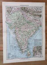 1932 ORIGINAL VINTAGE MAP OF BRITISH INDIA