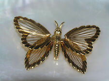 Vintage MONET Signed Goldtone BUTTERFLY with Wired Wings Pin Brooch – marked on