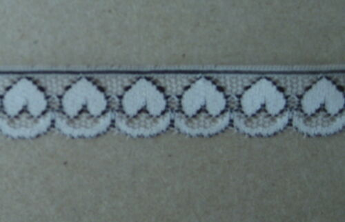 metre varieties available CRAFT-SEWING-LACE 12mm Navy Blue//White Heart Design