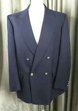 Marks & Spencer Navy Blue Wool Blend Double Breasted Gold Button Blazer 44M