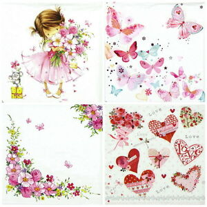 4x-Paper-Napkins-for-Decoupage-Decopatch-Craft-Pink-World-Mix