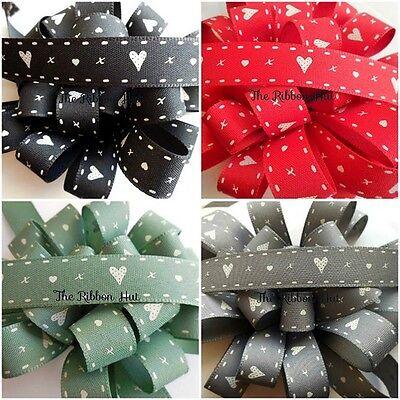 Stipt 15mm Hearts & Kisses Printed Ribbon-berisfords-per Metre-black,red,green,grey