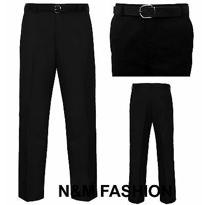 Mens Trousers Office Business Work Formal Casual Smart Belt Pocket Big Plus Size