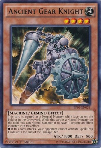 3 x Ancient Gear Knight (BP03-EN033) - Rare - 1st Edition