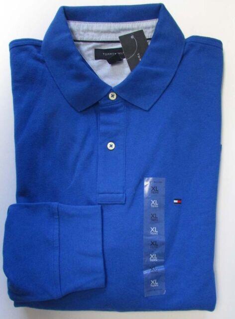 NWT Tommy Hilfiger Long Sleeve Polo Shirt Mesh Shirt Blue Size XL
