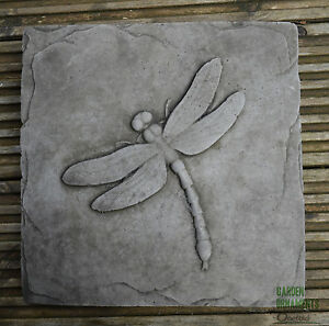 Image Is Loading DRAGONFLY GARDEN WALL PLAQUE Hand Cast Stone Garden