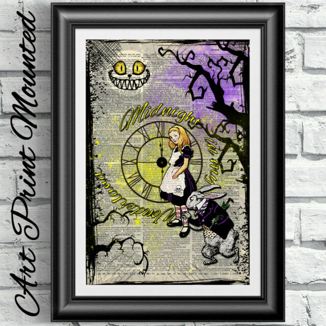Art print book page Mounted Gothic Alice in Wonderland midnight dictionary
