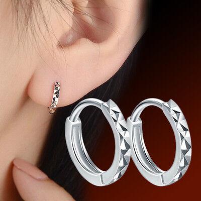 A023# Mens Womens 925 Sterling Silver Simple Ear Clip Ear Stud Hoop Earrings