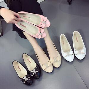 Women-Ladies-Diamante-Bow-Knot-Ballerina-Ballet-Dolly-Pumps-Flat-Boat-Shoes-Size