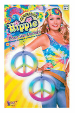 Rainbow Hippie Peace Sign Earrings 60's 70's Costume Accessory