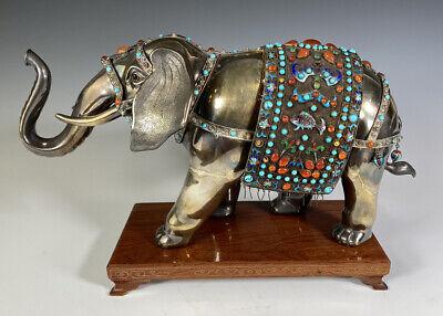 Old Chinese Enameled Gilt Silver Jeweled Elephant Figure Statue with Gemstones  | eBay
