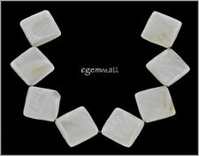 8 White Mother of Pearl Shell Square Rhombus Beads 25mm #75096