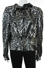 Pauline Trigere Silver Black Animal Print Long Sleeve Blouse Size Medium