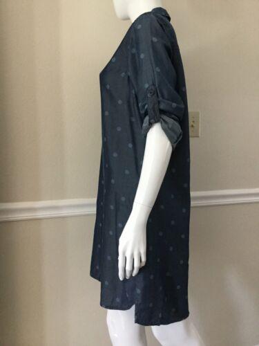 Lunga Stone Pois Donna Abito A Chambray Cloth Manica Scamiciato Nuovo Szm 5qPwn8Ef
