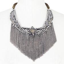 Shourouk Daisy Duke Brass Chain Swarovski Crystal Bib Necklace