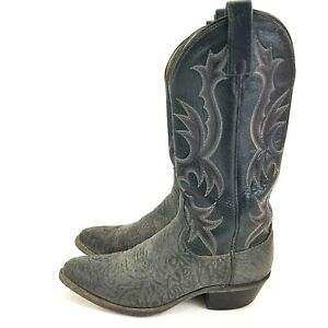 Mens-DAN-POST-Black-Red-Stiching-Cowboy-Western-Boots-Size-7-D-P2137