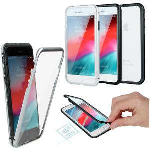 Apple-iPhone-X-360-MAGNET-9h-GLAS-Tasche-CASE-Huelle-Aluminium-Vor-Rueckseite