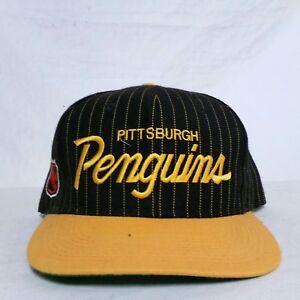 9159f98ef38c18 Image is loading VTG-Sports-Specialties-Script-Snapback-Hat-Pittsburgh- Penguins-