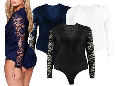 Haut femme à manches longues en dentelle Floral Body Stretch Femmes Justaucorps Body Haut UK 8-26
