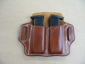 Sig Sauer P 320 250 9mm / .40 Leather 2 Slot Molded Pancake Belt Mag Pouch TAN