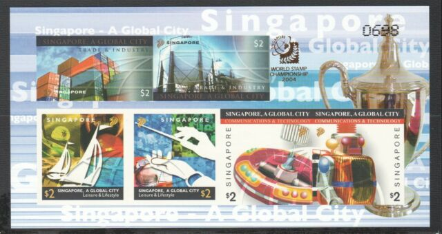SINGAPORE 2004 A GLOBAL CITY LIMITED IMPERFORATED SERIAL NUMBER SOUVENIR SHEET