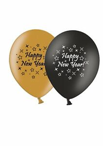 Happy-New-Year-stars-12-034-Gold-amp-Black-Asst-Latex-Balloons-by-Party-Decor-6-ct