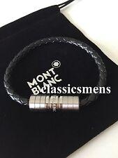 Montblanc Bracelet Men Silver Threat Leather