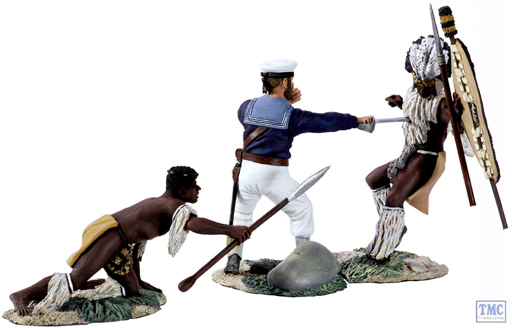 B20129 W.Britain marin AYNSLEY de mort 3 piece set Ltd.. Ed. 500 Zulu war | De La Mode
