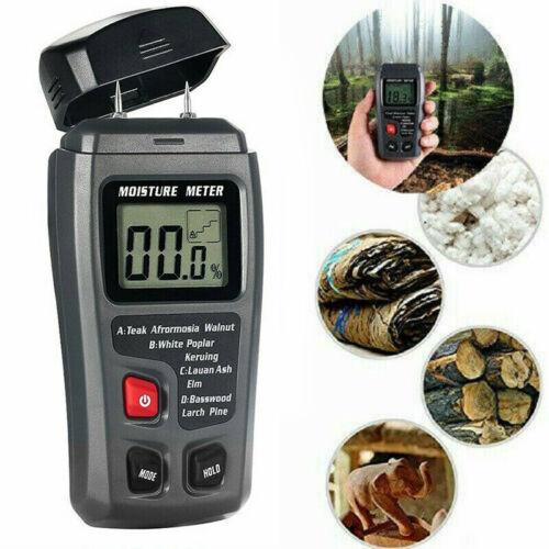 New Digital LCD Humidity Wood Moisture Meter 0-99.9/% Firewood Electrode Detector